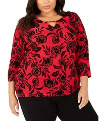 jm collection plus size velvet glitter jacquard top, created for macy's
