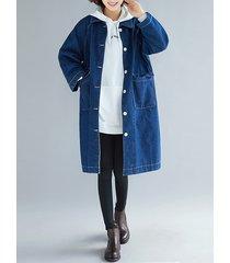 cappotto casual in denim a maniche lunghe con risvolto in tinta unita