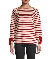 bow-cuff striped t-shirt