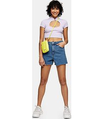 a line rich denim shorts - mid stone