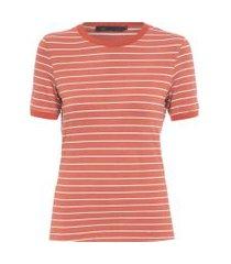 t-shirt malha listrada gola retilínea - vermelho