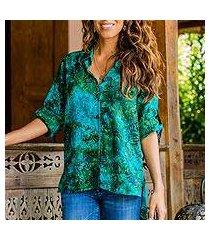 batik rayon hi-low blouse, 'java emerald' (indonesia)
