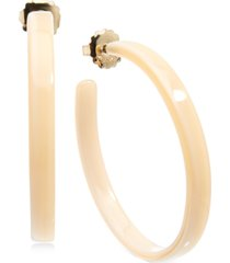 "zenzii medium gold-tone tortoise-look hoop earrings 2"""