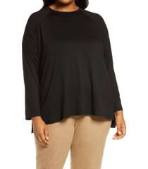 plus size women's eileen fisher raglan sleeve stretch jersey tunic, size 3x - black