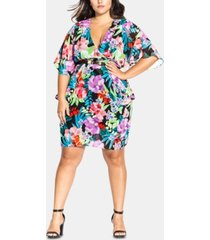 city chic trendy plus size belted floral-print dress