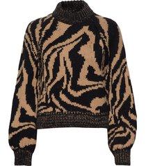 hand knit wool stickad tröja brun ganni
