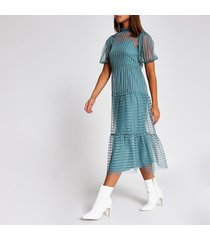 river island womens blue stripe mesh short sleeve midi dress