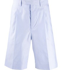 prada striped oxford shorts - blue