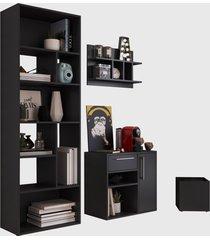 conjunto para escritório 01 livreiro/balcáo multiuso/prateleira/cachepôt preto modern office e estilare móveis - tricae