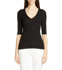 women's st. john collection fine gauge ribbed sweater, size x-large - black