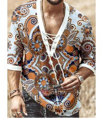 camiseta con cordones con cuello en v y personalidad a la moda con estampado tribal de vacaciones de verano para hombre