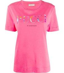 emilio pucci logo printed t-shirt - 362-magenta