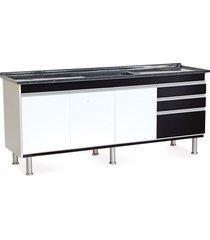 gabinete para cozinha em mdf ferrara 200x70cm preto