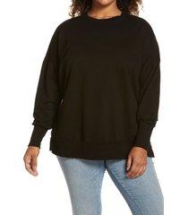plus size women's caslon side slit tunic sweatshirt, size 2x - black