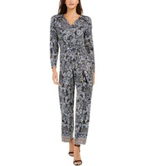 ny collection petite button-trim printed jumpsuit
