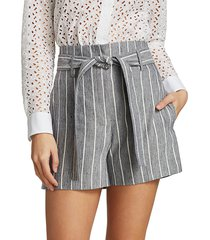 theory women's high-waist striped linen shorts - indigo multi - size 12