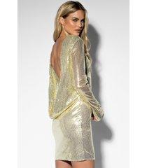 rebecca stella sequin open back l/s dress - gold