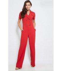 macacã£o ginestra manga curta em crepe - gi-9597-vermelho - vermelho - feminino - dafiti