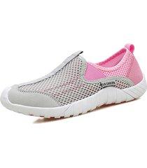 scarpe casual da atletica piatte a tinta unita a maglia colorata