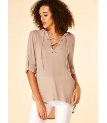 yoins blusa de manga larga con cuello en v de color caqui con diseño de amarre