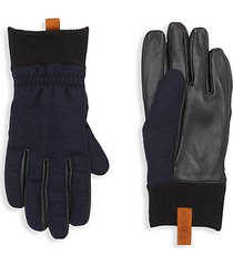wool-blend & leather faux fur-lined gloves
