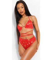 constellation print ring detail bikini top, red