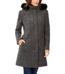 calvin klein faux-fur-hood walker coat