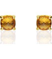orecchini a lobo placcato oro con pietra color ambra per donna