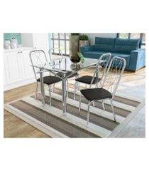 conjunto mesa elba c/ 4 cadeiras viena cromado/preto kappesberg