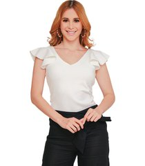 blusa ajustada con manga campana