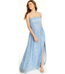 jump juniors' glitter lace strapless gown