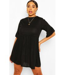 plus zachte geribbelde jurk met ruches, zwart