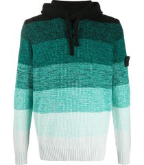 stone island shadow project gradient-print knitted hoodie - green