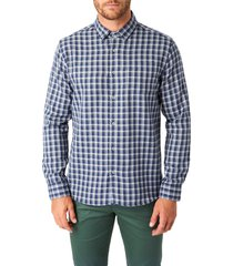 men's 7 diamonds colton trim fit check button-up shirt, size xx-large - blue