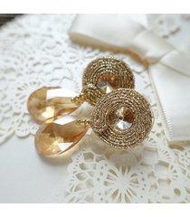złote kolczyki ślubne soutache