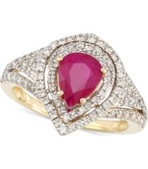 rare featuring gemfields certified ruby (5/6 ct. t.w.) and diamond (2/3 ct. t.w.) ring in 14k gold