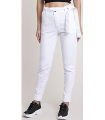 calça de sarja feminina jogger cintura alta com faixa para amarrar branca
