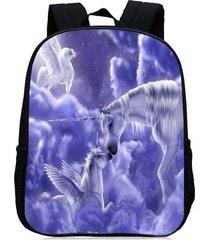mochila/ escolar unicorn print-púrpura