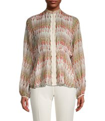 giambattista valli women's floral silk blouse - brown beige - size 38 (4)
