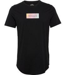 ombre box print logo t-shirts short-sleeved svart hollister