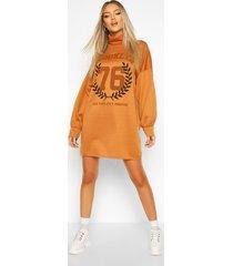 brooklyn graphic roll neck sweatshirt dress, camel