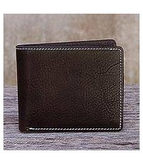 men's leather wallet, 'genuine in dark brown' (thailand)