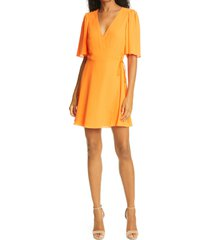 women's alice + olivia sandra wrap dress, size 4 - orange