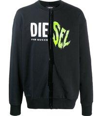 diesel oversized logo print sweatshirt - black