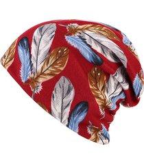 beanie in cotone con stampa antivento a doppio uso sciarpa e cappello