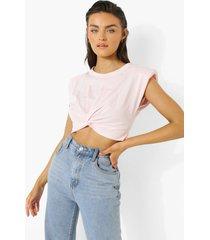 kort gedraaid t-shirt, pastel pink