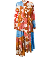 dodo bar or ossi patchwork dress - brown