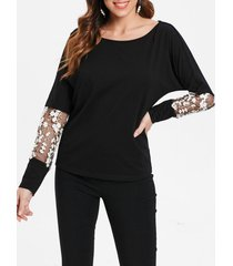floral embroidery panel long sleeve t-shirt