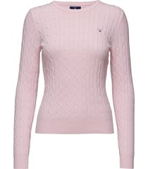 stretch cotton cable c-neck gebreide trui roze gant