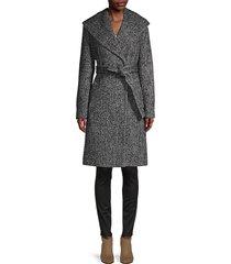 chevron shawl-collar coat